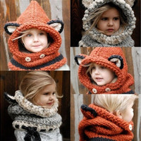 Baby Warm Hat Hooded Scarf Earflap Knitted Cap [9302848842]
