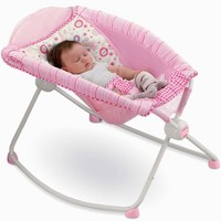 Fisher Price Newborn Baby Girl Pink Rock Play Portable Sleeper Rocker Chair Seat