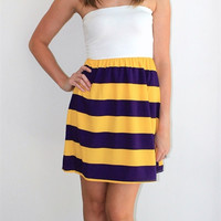 Game Day Purple and Gold Striped Tube Dress