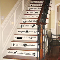 Amazing High-Design Customized Vinyl Stair Decal: The Beatles' Lucy in the Sky with Diamonds Lyrics
