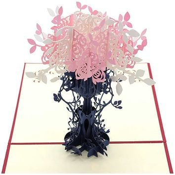 3D Pop Up Best Wish Thanksgiving Greetings Cards For Family and Friends (Flower)