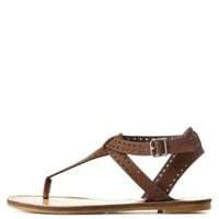 Brown Bamboo Perforated T-Strap Thong Sandals by Charlotte Russe