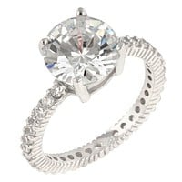 Anika 10mm Round Solitaire Engagement Ring | 4.5ct | Sterling Silver