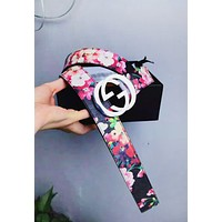 LV Louis Vuitton Classic Fashion Woman Men Red Flower Letter Smooth Buckle Belt Leather Belt
