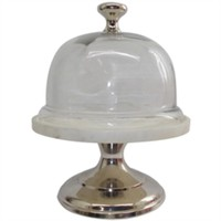 Aluminum Cafe Couture Cake Stand with Glass Dome Lid.