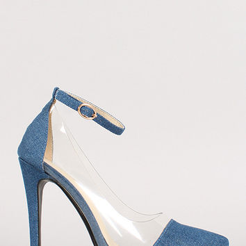 Denim Lucite Pointy Toe Stiletto Pump