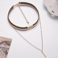 Brown Suede and Gold Chain Layered Choker