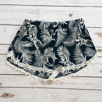 Pineapple Trop Lace Trim Shorts