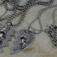 """Hand Stamped Aluminum Weightlifting Necklaces.  """"Swole Mates"""" exercise jewelry, workout necklace, personal trainer necklace workout partner"""