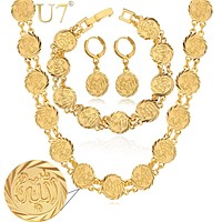 U7 Allah Choker Necklace Bracelet And Earrings Set Gold Color Religious Antique Coin Islamic Wedding Jewelry Set For Women S465