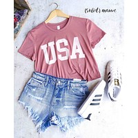Distracted - USA Cropped Top Graphic Tee in Mauve/White