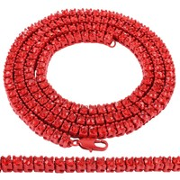 """Hip Hop Red 5mm Solitaire 30"""" One Row Tennis Chain"""
