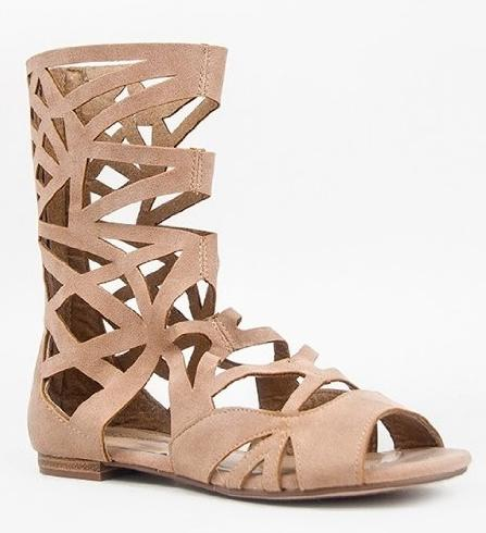 Image of Women's Breckelles Caged Gladiator Calf High Sandals Solo-04