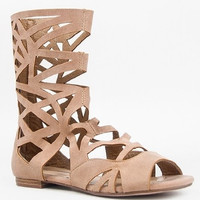 Women's Breckelles Caged Gladiator Calf High Sandals Solo-04