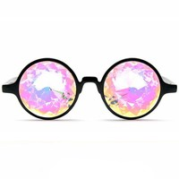 GloFX Black Kaleidoscope Glasses- Rainbow