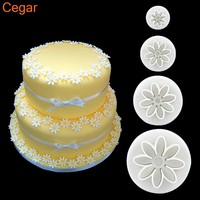4pcs/1Set Daisy Mold Flower Sunflower Plunger Cutter Sugarcraft Fondant Cake Cookie Mode Tool Christmas Birthday Cake Decorating