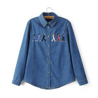 Blue Denim Cartoon Embroidery Long Sleeve Collar Button Shirt