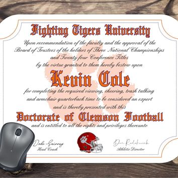 Personalized Clemson Tigers Ultimate football Fan Diploma Mouse Pad