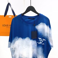 LV Louis Vuitton new blue and white stitching round neck short-sleeved T-shirt