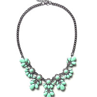 Green statement necklace, mint green bib necklace, gift ideas under 15