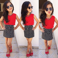 Fashion Chiffon Tops+Bowknot Dot Skirt Clothes Girls Baby Kids Outfits Set 2~7Y