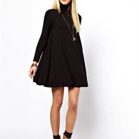 Olive Long Sleeve Turtle Neck Dress