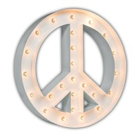 """24"""" Peace Sign Marquee Sign with Lights (White Gloss)"""