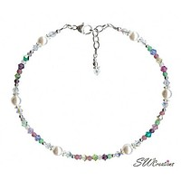 Spring Breeze Pastel Crystal Pearl Beaded Anklet