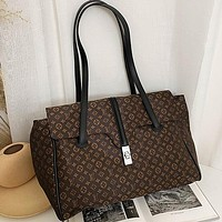 LV Louis Vuitton brown embroidered letters shopping handbag shoulder bag travel bag