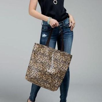 Faux snake skin tote bag shoulder bag