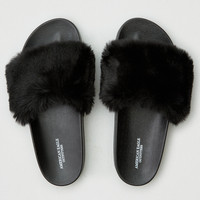 AEO Faux Fur Pool Slide Sandal, Black
