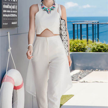 White Sleeveless Crop Top High Waist Pants Set