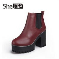 Platforms Square Heel Ankle Boots