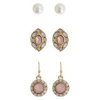 Women's Fashion Trio Earring Set with Stones - Gold/Clear