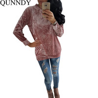 Fashion T Shirt Women Hoodies 2016 Sexy Harajuku Velvet Casual Tops Long Sleeve Plus Size Autumn T-Shirt Solid Female De Mujer