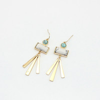 Fashion Gold Plated Geometric Dangle Earrings With Stone by Fashnin.com