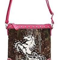 Pretty Camo Western Studded Horse Cross Body Purse Messenger Bag