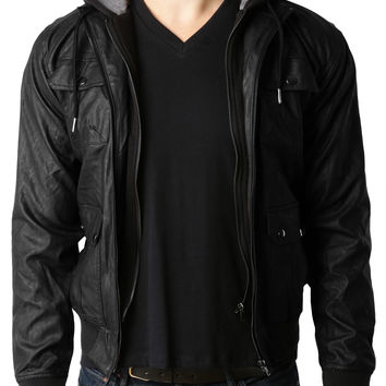 LE3NO Mens Faux Leather Zip Up Moto Jacket with Detachable Hoodie (CLEARANCE)