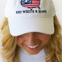Red White & Bows - Adjustable Cap