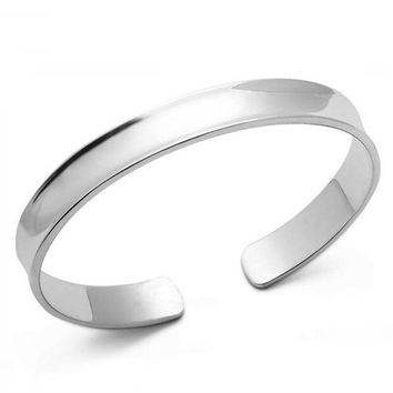Smooth Concave Silver Cuff Bangle Bracelet