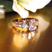 Vintage 18k Chocolate finished, 3.0 carat cubic zirconia diamond engagement ring Size 7, Wedding Ring, Anniversary,  Special Occasion