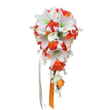 Cascade Bouquet: Shades of Orange roses, Ivory Stargazer lily, and Real touch calla lily