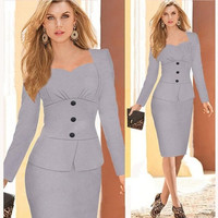 2014 new winter dresses elegant fashion full sleeve brand dress work midi wear formal party ladies clothing us quality standard = 1932566148