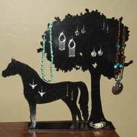 Horse tree earring necklace holder display western