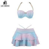 LE BESI Two Piece Swimsuit Pearl Skirtini Halter Top Tankini Underwire Push Up Swimwear Women Shell High Waisted Swimming Suit