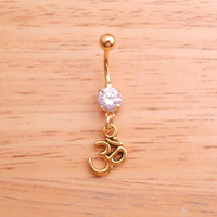 Yoga Ohm Clear Gem Gold Belly Button Ring Body Jewelry Piercing