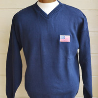 Vintage Pull Over Sweater Men's Slouchy Navy Blue Sweater with American Flag Size Large