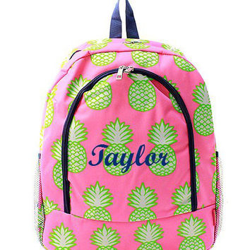 Monogrammed Personalized Backpack  Customized Backpack  Pink Pineapple Backpack