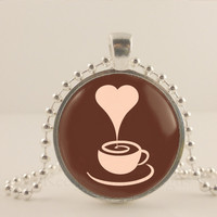"""Heart steam, Coffee cup, brown, 1"""" glass and metal Pendant necklace Jewelry."""