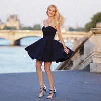 Off-shoulder High Waist Little Black Dress